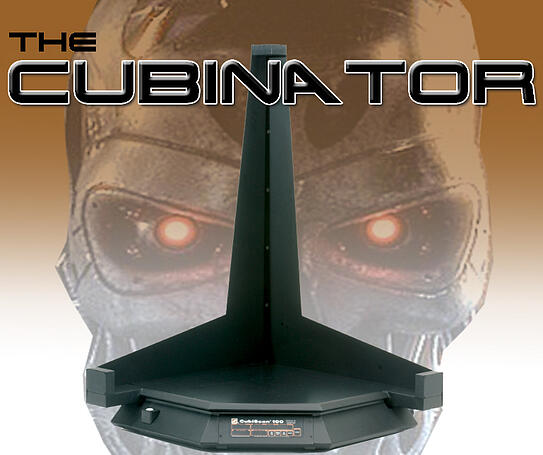 The Cubinator, CubiScan dimensioning and weighing device